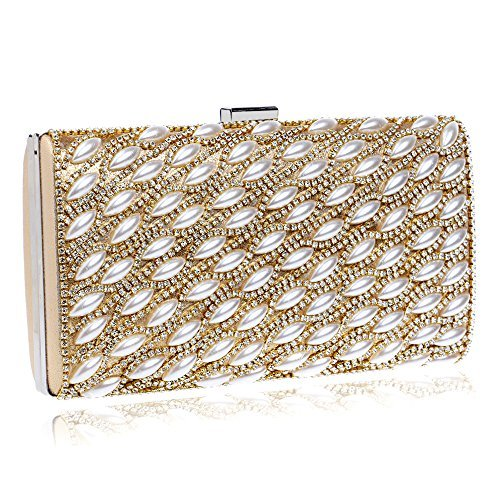 HAPPYTIMEBELT Hard Case Glitter Clutch Bag with Pearl and Rhinestone Inlaid(Golden)