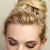 QueenMee Serre-tête orné de perles et de fleurs, serre-tête pour demoiselle d'honneur, pour mariage, accessoire de cheveux, serre-tête argent