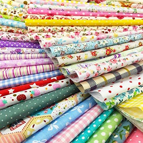 200Pcs Baumwollstoff Patchwork Stoffe DIY Gewebe Quadrate Baumwolltuch Stoffpaket zum Nähen mit vielfältiges Muster 15x15cm