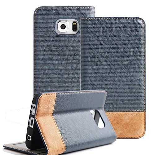 Boriyuan Samsung Galaxy S6 Edge Hülle PU Flip Leder Case Tasche Cover Schutzhülle für Samsung Galaxy S6 Edge Wallet Design mit Fächern für Bankkarte, Displayschutzfolie für Samsung Galaxy S6 Edge inklusive (Blau)