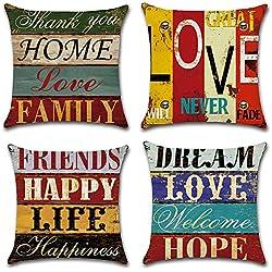 HuifengS Lin Throw Coussin Taie d'oreiller Taie d'oreiller carrée Lettre Style décoratif pour canapés Lits Chaises Housse de Coussin, 45 x 45 cm