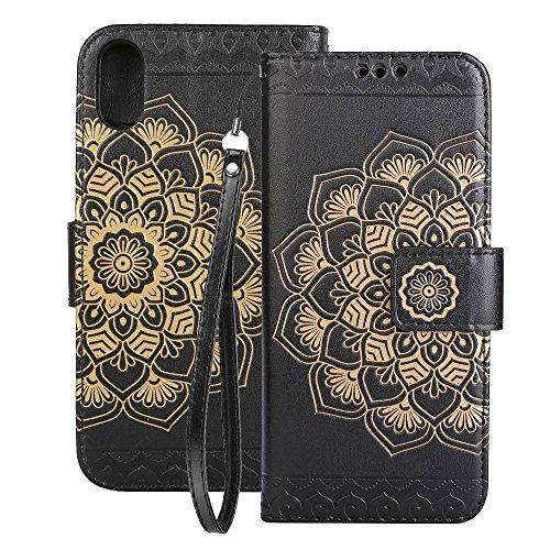 Handy Etui Schutz Hülle für Apple iPhone X 10 5.8 Zoll | MANDALA Design | SCHWARZ | Mit Kartenfach und Magnet | Flip Case TPU Wallet Cover Klapphülle Ständer Motiv Schwarz
