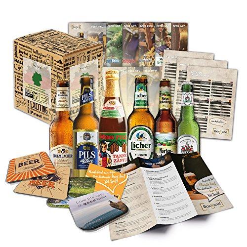 """""""Bier Spezialitäten aus Deutschland"""" Geschenkidee für Männer INKL. Bierdeckel + Geschenkkarton + Bier-Info. Ausgefallene Geschenkidee für Männer (6x0,33l)"""