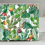 Aitsite Tenda da Doccia Impermeabile con 12 Ganci, Tenda da Bagno Tessuto in Poliestere Bagno Tende da Sole Resistente alle Muffe, Facile da Pulire, Tenda Doccia Antimuffa 180x180 cm (Cactus)