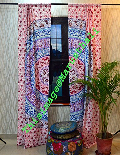 indian window curtain Ombre Mandala Tulle Voile Drape Panel Sheer Scarf Valances (Ombre Sheer Panel)