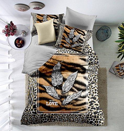 Sookie 3D Digitaldruck Leopard 03 Bettwäsche mit YKK Reißverschluss in Mehrfarbe, weich hautsympathisch, Pfirsichhaut Microfaser, 135 x 200 cm + 48 x 74 cm