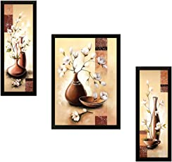 SAF UV Textured Flower Print Framed Painting Set of 3 for Home Decoration – Size 35 x 2 x 50 Cm