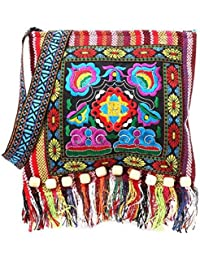 LQZ Tribal Ethnic Bohemian Style Tassels Cross-body Shoulder Sling Bag For Women