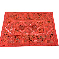 Mogul Interior Tapestry India Vintage Orange Sari with Miror Patchwork Wall Hanging Throw