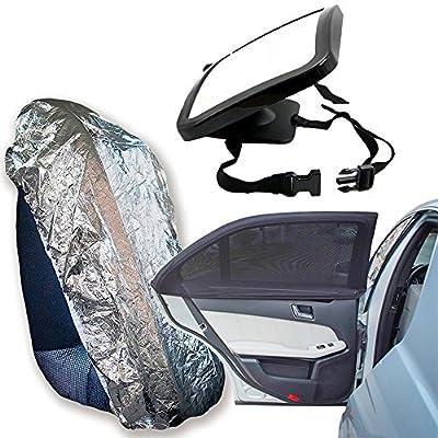 Pack pour bébés et enfants de voiture - Sécurité et protection solaire Film Solaire pour fenêtre, miroir de sécurité et protecteur solaire pour chaises de voiture