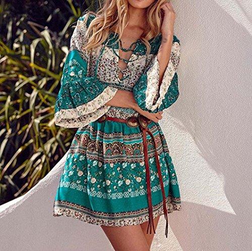 Damen Kleid Holeider Boho Blumen Gedruckt Mode Abend Party Kleid Übergröße  Grün