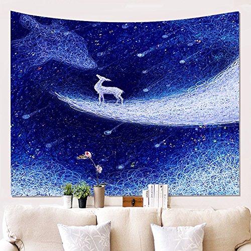 YEARGER WandTapisserie Polyester 3D Druck und Farben Gefärbt Elch Hausdekorationen Wandleuchte Schlafzimmer Vorhänge, Tischdecken Dekor