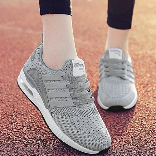 HWF Chaussures femme Chaussures De Sport De Printemps Des Femmes Course Respirant Maille Légère Étudiant Casual Femme ( Couleur : Vert , taille : 40 ) Gris