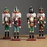 4 Pieces 30cm Casse-noisettes Marionnette Figurine Casse-noix en Bois Décor Soldats Jouet