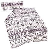Catherine Lansfield CL Oslo Grey - Juego de funda nórdica para cama de 105 cm