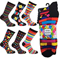 Ayra - 6 Pairs of Mens VIVID Odd Stripes and Spots Socks, 43627, Black