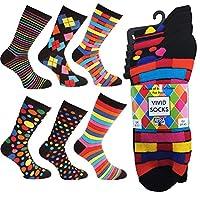 Ayra - 6 Pairs of Mens VIVID Odd Stripes and Spots Socks, 43627, Black