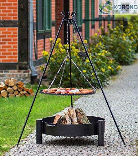 Set - Schwenkgrill 1,80m mit Kurbel incl. Ø80cm Grillrost und Ø80cm Feuerschale 322