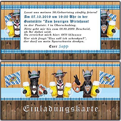 Einladungskarten zum Oktoberfest Geburtstag byrische Motto-Party O zapt is Hüttengaudi Feier Jubiläum Hund - 80 Stück Ticket Eintrittskarte