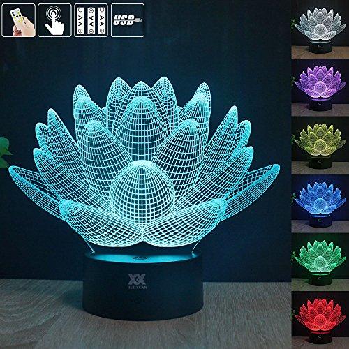 GuDoQi® Lampe de Table Lotus Fleur 3D USB Lumière de Nuit LED Couleurs Changeant Lumières de Noël Bouton Tactile Lampe de Bureau Pour Enfants