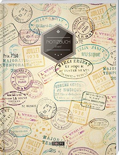 """TULPE Liniertes Notizbuch A4 """"C029 Reisetagebuch"""" (140+ Seiten, Vintage Softcover, Doppelrand, Seitenzahlen, Register - Dickes Notizheft, Deutschheft, Schreibheft, Schulheft, Tagebuch, Lineatur 27)"""