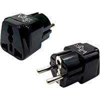 Bulfyss EU-2 Pin Universal Conversion Plug Which Support More Than 180 Countries (1pc, Black)