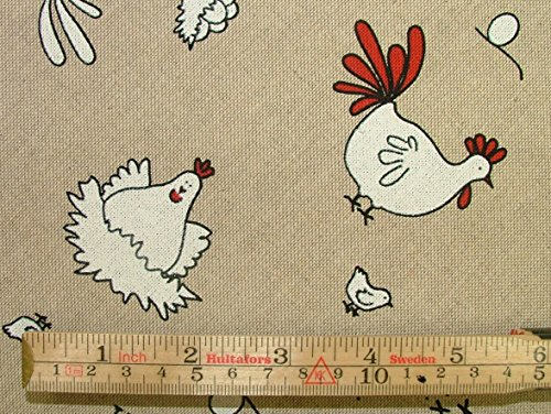 Huhn und Hühner auf auf dem Bauernhof Leinen Look Stoff Vorhang Jalousie Craft Quilting Patchwork Polster Meterware - 4