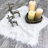 Mojawo 2 Stück Deko-Fell-Läufer Fellimitat Kunstfell Tischläufer Dekofell Weiß B 45 x H 32 cm