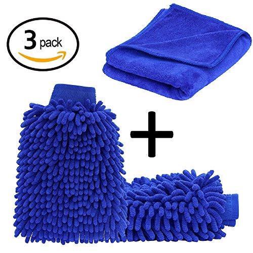 ecom delivery® ⭐⭐⭐⭐⭐ Autowaschhandschuh Mikrofaser zur Autoreinigung (2 Stück) und Mikrofaser Trockentuch (Extra groß: 70x30cm) | Wasserdicht | Autoreinigungsset zur Autowäsche (2X Handschuh 1x Tuch)