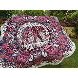 100% de alta calidad Mandala india Tapiz - rojo azul de la cortina de la alheña del elefante de la mandala, floral con el trabajo de los volantes / Flecos / encaje, ropa de cama de Bohemia   100% tela de primera calidad CALIDAD   TAMAÑO DE RONDA