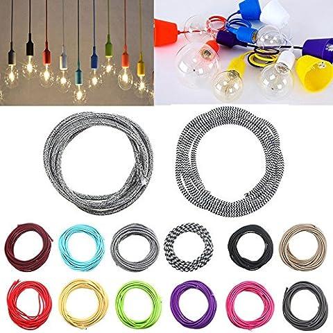 Bazaar 3m couleur 2 cordon câble lumière tissu tressé torsion cru fil électrique