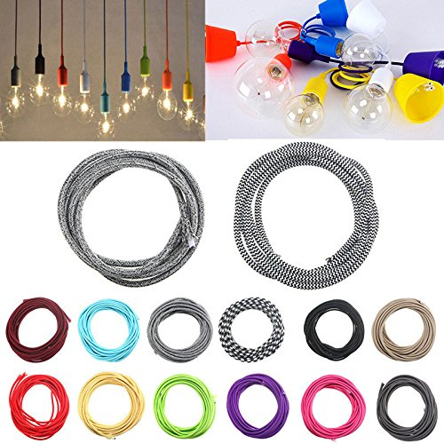 Twist 3 Licht (Global 3M 2 Cord Farbe Vintage Twist Geflecht Licht Kabel Electric Wire)