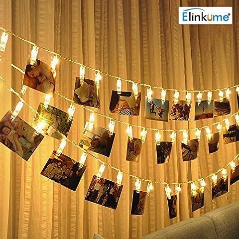 ELINKUME LED Foto Clip Lichterkette, 20 Foto-Clips, 2,2 Meter/7,21 Füße, warmweiß, batteriebetrieben, ideal für hängende Bilder, Notizen, Artwork, (Warm Weiß Led Weihnachten Tree)