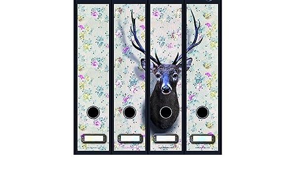 8 durchgehende Ordnerr/ücken Hirschkopf Hirsch Geweih File Sticker Ordner Aufkleber Etiketten Deko 8041