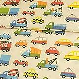 Stoffe Werning Dekostoff Bunte Autos Kinderstoffe Canvas - Preis Gilt für 0,5 Meter -