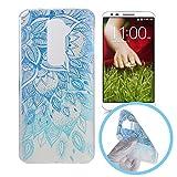 Silingsan Étui en Silicone pour LG G2 Coque Caoutchouc Gel TPU Soft Slim Case Cover Housse de Protection Étui Mince Léger Coque Souple Flexible Housse Anti Rayure Anti Choc - Fleur Bleue de Mandala
