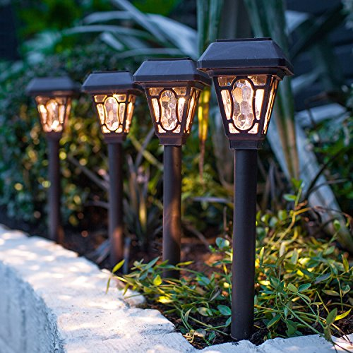 Lights4fun 4er Set LED Solar Wegbeleuchtung Barock