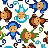 Robert Kaufman Premium Laminat Stoff kleine Affen