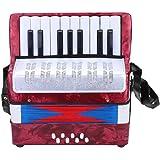 Dilwe Accordéon, Mini Petit 17-Clé 8 Basse Accordéon Instrument de Musique Jouet Cadeau pour Débutants Enfants