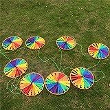 ECMQS 8 Stück Regenbogen Rad Windmühle Wind Spinner Whirligig Gartenhaus Rasen Hof Dekoration