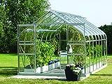 Gartenwelt Riegelsberger Gewächshaus Diana - Ausführung: 11500 ESG 3 mm Alu, Fläche: ca. 11,5 m², mit 4 Dachfenster, Sockel: 2,54 x 4,41 m