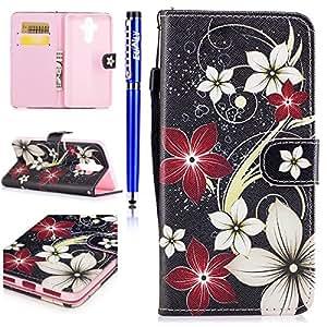 EUWLY Case Cover per Huawei Mate 9,Ultra Slim Sottile Custodia Protettiva Portafoglio pelle PU Case Lusso Flip Stand Slot Funzione di Supporto Leather Wallet Case per Huawei Mate 9-Fiore Rosso