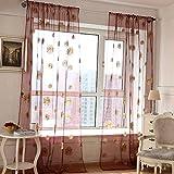 sundautumn cortina en vela ligero–Cortinas Visillos flores impresos girasol para ventana de dormitorio/salón/balcón 100x 200cm (amarillo)