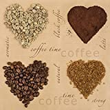 20 serviettes Napkins 33 x 33 cm Table packg. serviettage Cœur Café Coffee Hearts...
