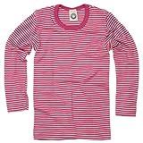 Cosilana Kinder Unterhemd Größe 116 in geringelt Pep-Pink Natur - Verkauf von Wollbody
