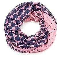 ManuMar Loop-Schal für Damen   feines Hals-Tuch mit Herzen-Motiv   Schlauch-Schal - Das ideale Geschenk für Frauen