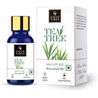 Good Vibes 100% Pure Tea Tree Essential Oil, 10 ml Controls Excess Sebum, Helps Reduce Dark Spots & Acne Scars…