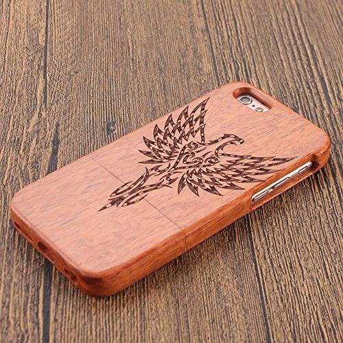 Holz Case für iPhone 5S / SE / 5 - Forepin® Handy Cover aus Natur Handgemachte Echt-Holz Schutzhülle Hart Bumper Case für Ihr Apple iPhone 5S / SE / 5 Smartphone (Kompass) Adler
