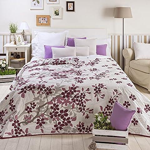 Sancarlos - Colchas flores nature morada morado - doble tela - reversible - esquinas redondeadas