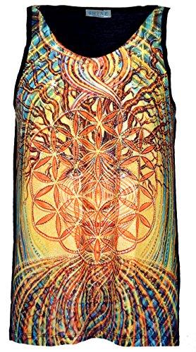 GURU-SHOP, Camiseta de Tirantes Psytrance, Camiseta de Hombre, Flor de la Vida en el árbol de la Vida, Sintético, Tamaño:Large, Tank Tops